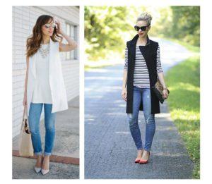 удлиненный жилет с джинсами