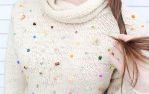 украшаем свитер бисером