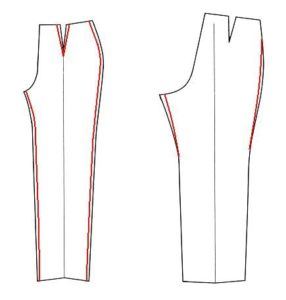 схема как ушить брюки с двух сторон