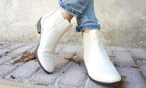 белые женские ботинки