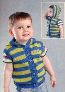 полосатый детский жилет с капюшоном