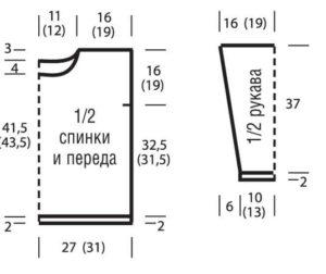 Схема 1. Простая выкройка для свитера оверсайз