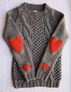 вышивка на вязано свитере