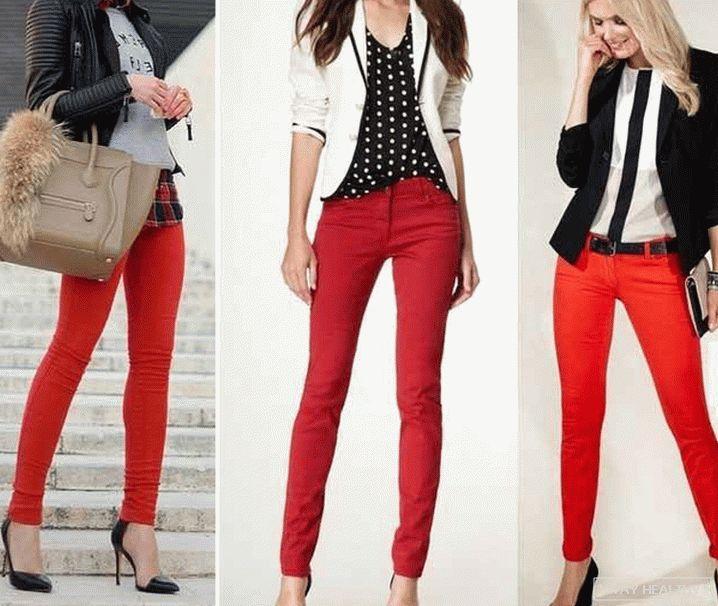 С чем носить красные брюки 1