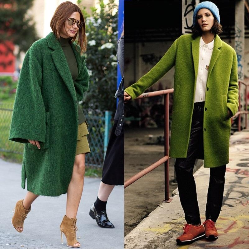 яркие зеленые пальто