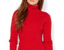 красная водолазка с чем носить