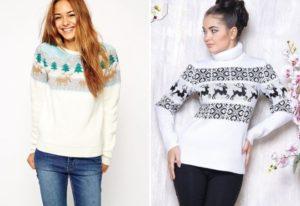 Варианты женских свитеров с оленями