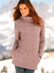 Удлинённый бежевый свитер
