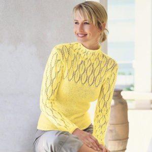 Жёлтый ажурный свитер