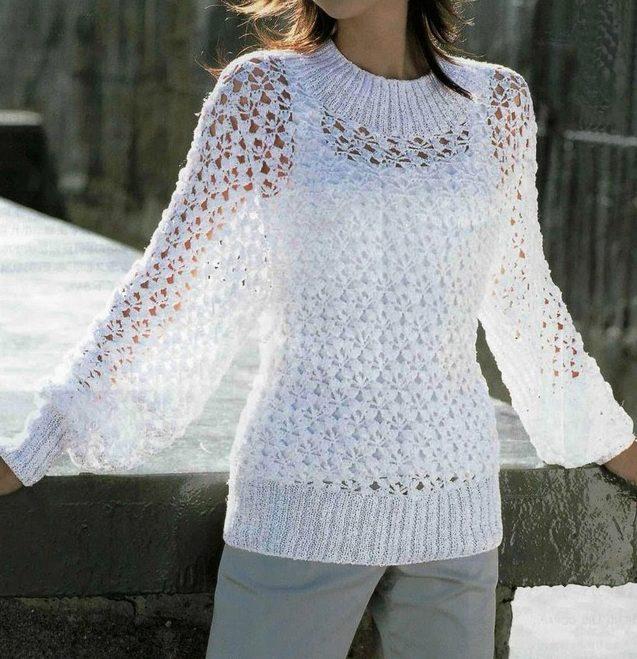 Белый свитер_2 крючком