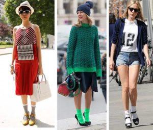 девушки в ярких носках