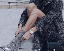 носки с люрексом с серебряными туфлями