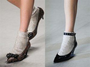 белые носки с люрексом
