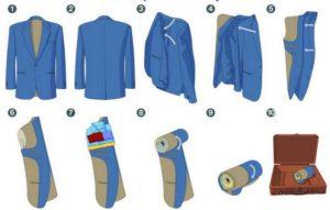 Как сложить пиджак в чемодан