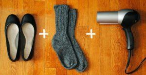 разнашивание туфель феном