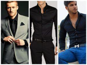 Чёрная рубашка под серый костюм