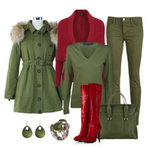 Красные сапоги с зеленым луком