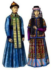 мужской и женский костюм бурятов рисунок