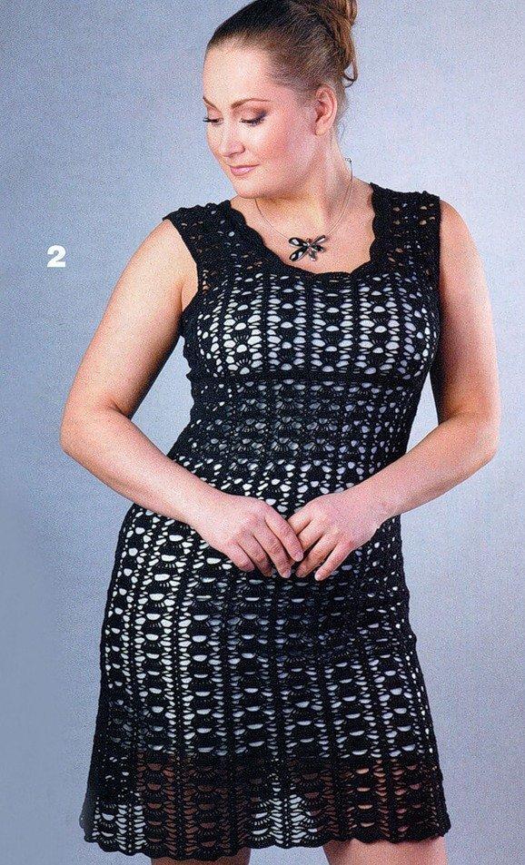 Платье чёрное крючком
