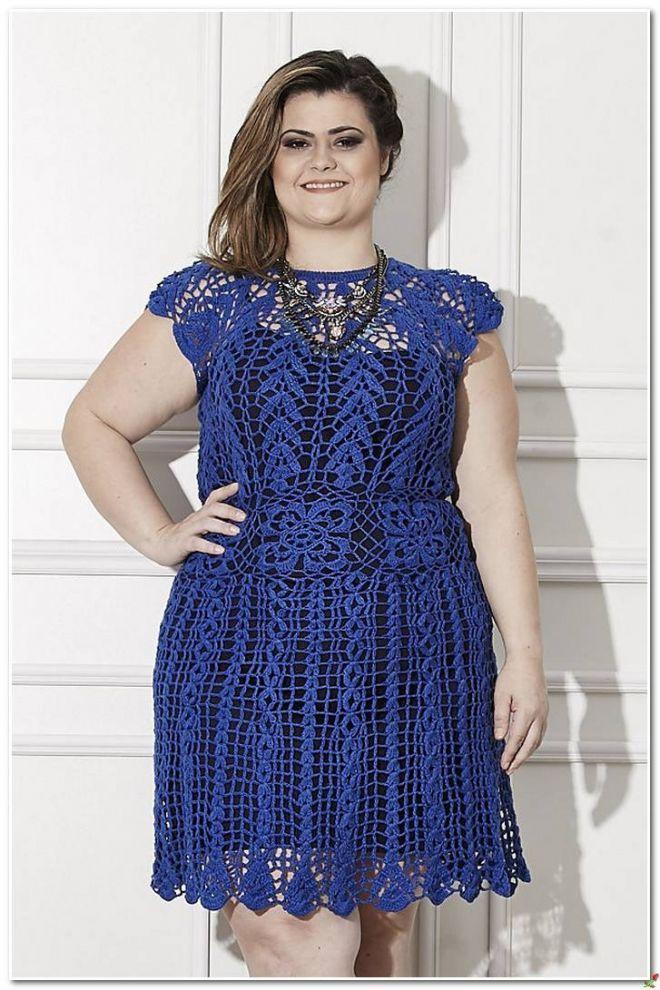 Платье синее для полных