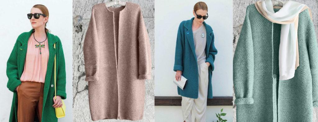 Вязаные пальто женские
