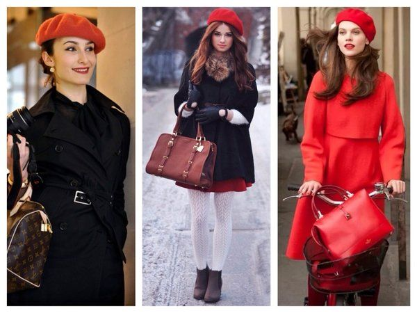 Красные береты с пальто