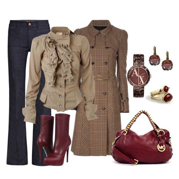 Одежда к бордовым ботинкам