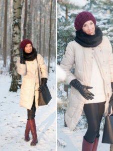 белое пальто и сапоги