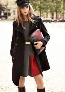 женская кепка с пальто