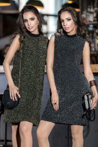 девушки в платьях с люрексом