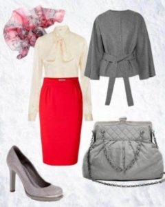 серые туфли с красной юбкой