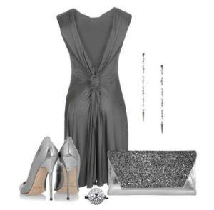 платье с серыми туфлями