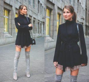 с черным платьем