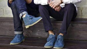 Замшевые синие туфли для мужчин