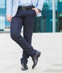 Классические синие мужские туфли