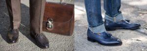 Сочетание синих туфель с джинсами