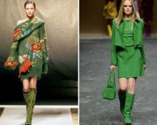 зелёные сапоги с платьем
