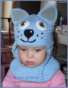 Голубая шапка шлем для мальчика