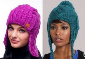 варианты вязанных шапок ушанок