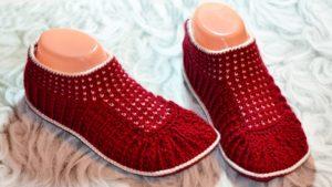 Тапочки носочки бордо