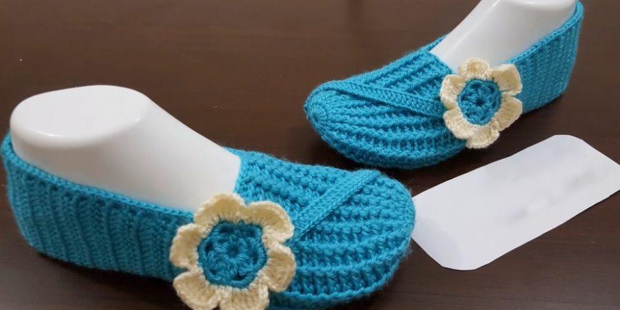 Тапочки носочки бело-голубые