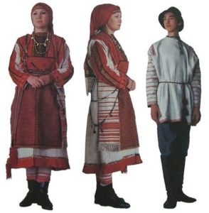 удмуртский женский и мужской костюм