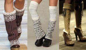 Вязаные гетры сверху обуви