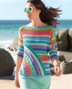 Полосатый свитер крючком
