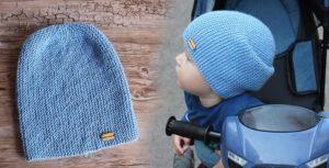 Голубая шапка бини