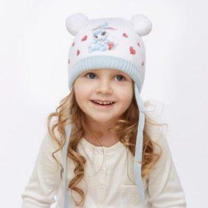 Белая шапочка с ушками
