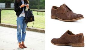 джинсы и туфли на шнуровке