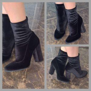 берхатные ботинки чулки