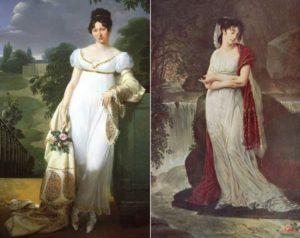 Старинная картина 2 женщин с палантинами