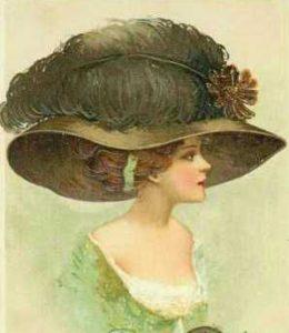Старинная картина с женщиной в шляпе